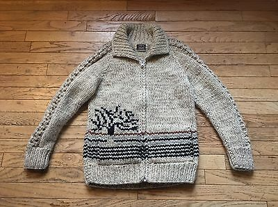 Vintage Hand Knit Cowichan Indian Sweater Made In Canada Small Wool Cardigan