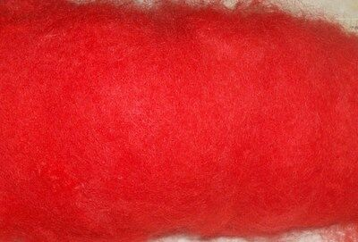 bright RED ROVING, scarlet, carded sheep wool, fibre, needle felting spinning