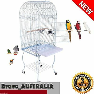 Pet Bird Cage with Stand Wheels Dome Roof Parrot Canary Budgie Aviary White