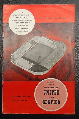 Manchester United  V Benfica  Friendly  1962/63  Official Programme