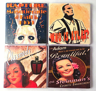 Posters of Rapture Tile Coasters. Bioshock Inspired. Felt Backed, Set of Four