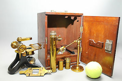 Early 20th Cent. Brass & Black Lacquered Microscope in Original Case