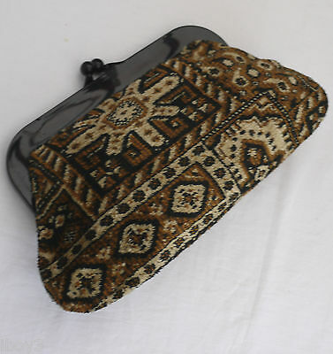 RECLAIMED 70's VINTAGE SOFT WOVEN CHENILLE CLUTCH PURSE STYLE HAND DAY BAG VGC