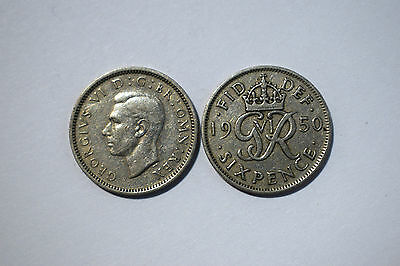 1937-1951 George Vi Cupro-Nickel/ .50 Silver Sixpence, Choice Of Date/ Year