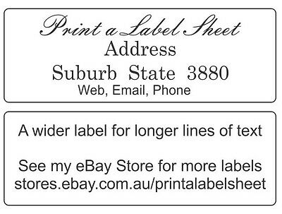 96 Personalised Return Address Labels / Stickers 58x20 mm Laser Printed