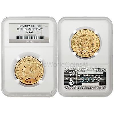 Dominican Republic 1955 Trujillo Regime 30 Peso Gold NGC MS61