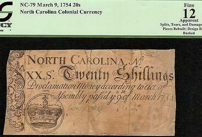 1754 North Carolina Colonial Currency Note 260 Year Old Paper Money Pcgs 12
