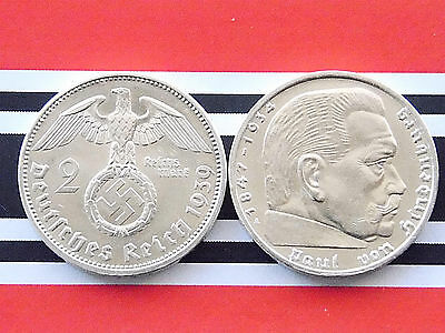 RAR GERMAN Coin 2 MARK Reichsmark 1939 A Silver SWASTIKA Hindenburg 3RD Nazi WW2