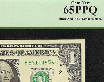 Gem Unc $1 Dollar Bill Stuck Digit Aka Gas Pump Error Note Currency Pcgs 65 Ppq