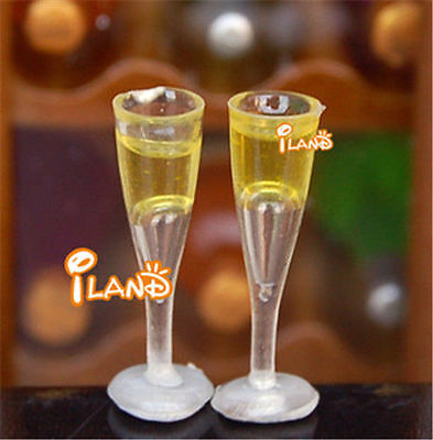 1:12 Dollhouse Miniature Champagne glasses one pair