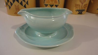 T.S.&T LuRay Pastels Blue/Green Collectible Gravy Boat 1938-1960 Vintage Pottery