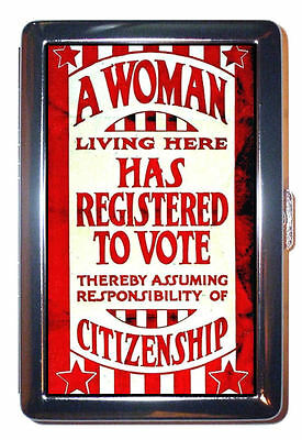 1920 Women's Suffrage Poster Vote Feminism: Cigarette Case, ID Wallet USA Made