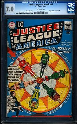 Justice League of America 6 CGC 7.0 OW Silver Key DC 1st Prof Amos Fortune L@@K