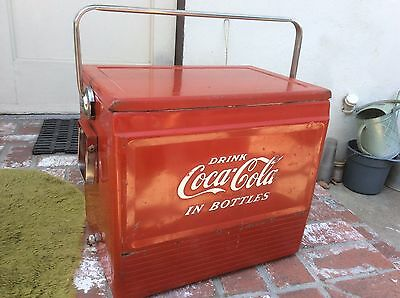 Vintage Coca Cola Cooler Chest w/ Sandwich Tray and Bottle Opener