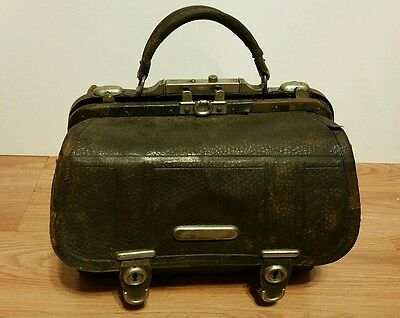 Antique Vintage 19th Century Leather Doctor's Medical Bag Stamped Patent Feb1881
