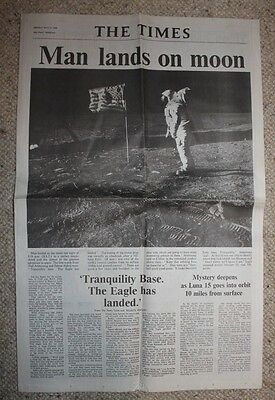 The Times Man Lands On The Moon Monday July 21 1969 reprint