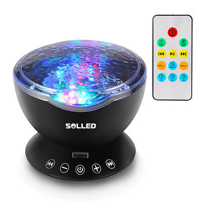 UK Calming Autism Sensory LED Light Projector Relax Ocean Night Music Projection