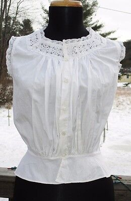 VICTORIAN EDWARDIAN Vtg CORSET COVER Camsole BLOUSE Whitework Embroidery Lace