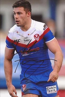 St.helens Rugby League * Mark Flanagan Signed 6X4 Action Photo+Coa