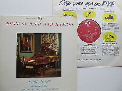 "Music of Bach and Handel 12"" Lp Karl Haas Pye CCL 30148 Mono  England 1959"