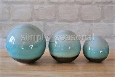 Decorative Set Of 3 Modern Ceramic Teal Blue Sphere Ball Ornaments