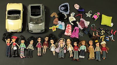 Miniature Bratz Doll Huge Lot of 14 Dolls Clothes Cars and Accessories