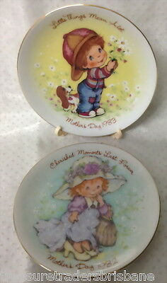 2 Avon 1982 + 1983 Mothers Day Plates In Boxes Cherished Moments Little Things