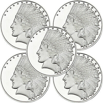 SilverTowne $10 Gold Indian Struck in .999 Silver Medallion-LOT OF 5