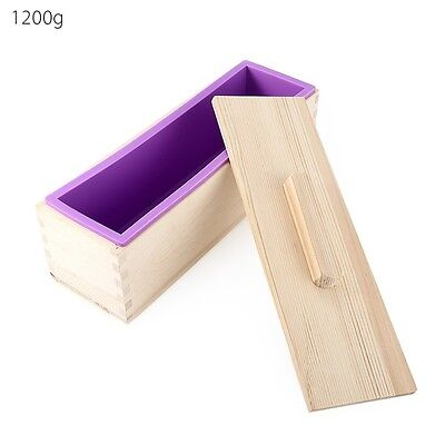 Wooden Loaf Soap Moulds Silicone With Lid Making Tools Baking Cake Biscuit Mould