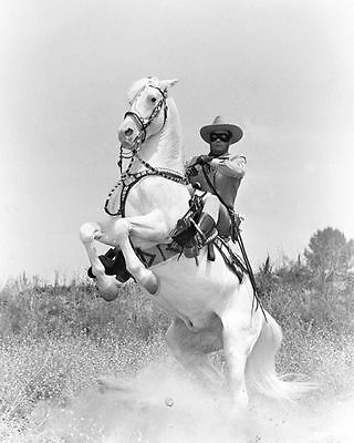 Clayton Moore On Silver Horse Lone Ranger Tv Glossy 8X10 Photo Picture #3