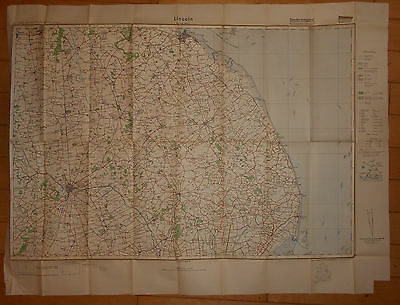 Map 1939 Ww2 German Invasion Military Lincoln Grimsby North East 5/8""