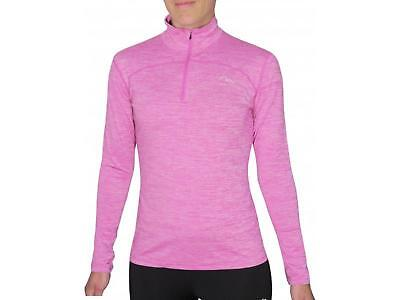 More Mile Heather 1/4 Zip Girls Junior Running Cycling Fitness Long Sleeve Top