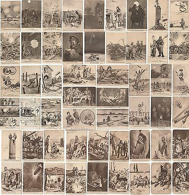"""Complete Collection Bruce Bairnsfather """"Fragments From France"""" WWI Postcards"""
