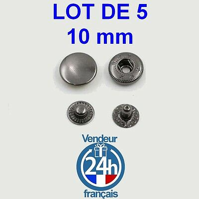 Lot 5 Boutons pression 10mm Jeans Metal Black Nickel scrapbooking couture