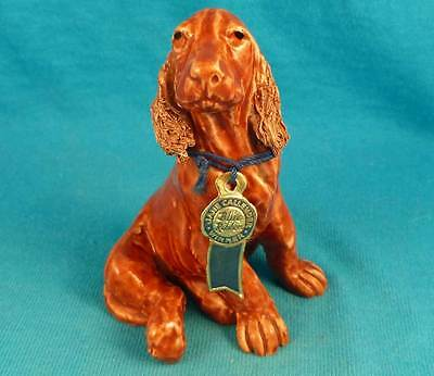 Rare Jane Callender Irish setter puppy dog w original blue ribbon California old