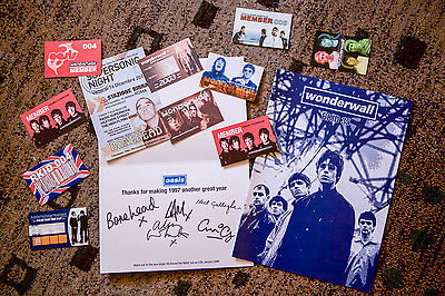 OASIS Promo 1998 fan club printed signed postcard + magazines + flyer + FC cards