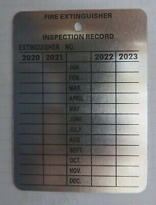 100-Metal Fire Extinguisher  4-Year Inspection Tag.2017-2018-2019-2020 W/hangers