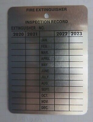 100-Metal Fire Extinguisher  4-Year Inspection Tag.2020-2021-2022-2023