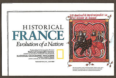 National Geographic Map - July 1989 - Historic France - Evolution of a Nation