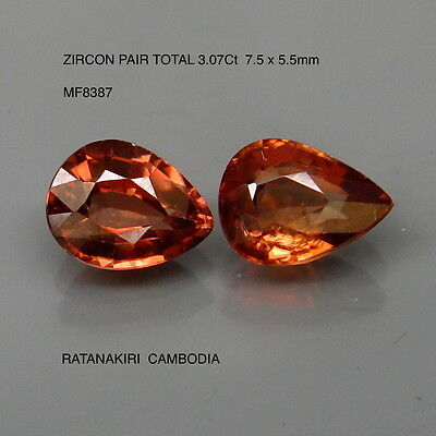 ZIRCON MATCHING PAIR NATURAL MINED UNTREATED TOTAL 3.07Ct  MF8387