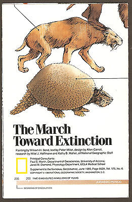 National Geographic Map June 1989 - March Toward Extinction Dinosaurs Smilodon +