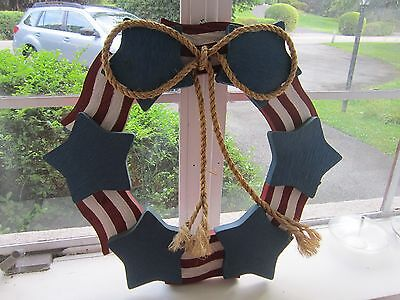 """Patriotic Wreath Red White Blue Wooden Nautical Flag Stars Stripes 20"""" Rope Bow"""