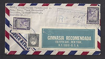 Guatemala 1966 Registered Air Mail Cover Quezaltenango to New York