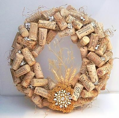 "12"" Straw Wreath Covered With Wine Corks And Vintage Rhinestone Jewelry - OOAK"