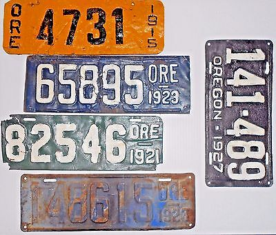 5 Oregon LICENSE PLATES 1915 1921 1923(2) 1927 ORE 4-5-6-Digit OR Vintage