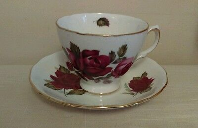 Royal Vale Rose Patterned Gold Gild Bone China Tea Cup and Saucer #8171