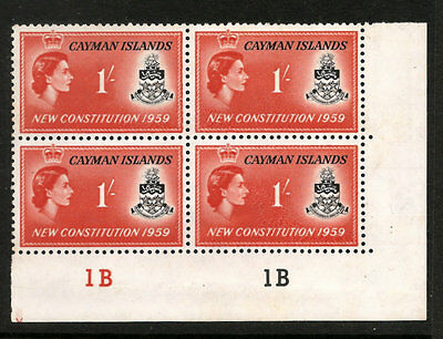 CAYMAN ISLANDS SCOTT # 152 NH  BLOCK OF 4 WITH PLATE #'s, FREE SHIPPING IN USA