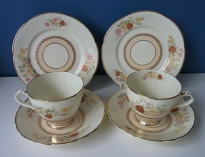 Adderley Ware Best Bone China #a1105 Pair Of Tea Cups, Saucers & Side Plates Vgc