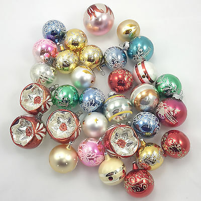 Mixed Lot 30 Vintage Christmas Tree Ornaments Shiny Brite Indented