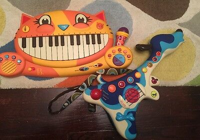 Meowsic Cat Keyboard Toy by B. Toys Microphone Recorder & Blue Dog Guitar Lot